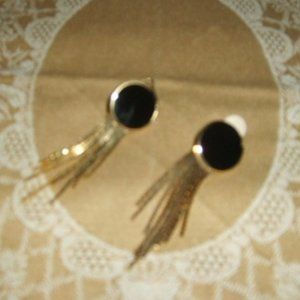 Vintage Clip Earrings Black w Shiny Gold Chains